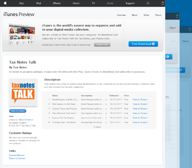 Screenshot of TaxNotes Podcast on iTunes